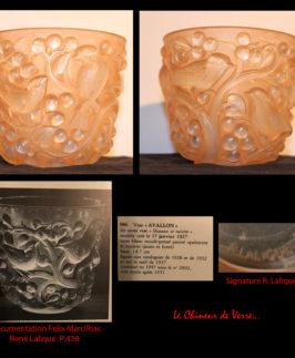 """Vase R. Lalique . Modèle """"Avallon"""""""
