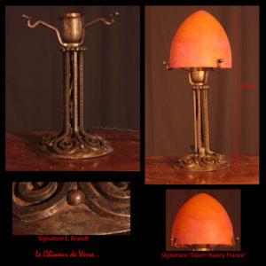 Lampe obus en verre marmoréen signée sur le verre Daum Nancy France et sur le pied E. Brandt