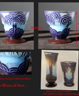 Charder : Vase Palmiers Bleus