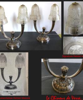 Hettier-Vincent : Paire de Lampes doubles